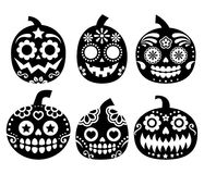 Halloween pumpkin vector design - Mexican sugar skull style  Royalty Free Stock Photos