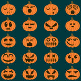 Halloween pumpkin vector 20 icons set, Emotion Variation. Simple flat style design elements. Halloween pumpkin vector 20 icons set, Emotion Variation Royalty Free Illustration