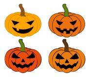 Halloween pumpkin vector illustration set, Jack O Lantern  isolated on white background. Scary orange picture with eyes. Royalty Free Stock Image