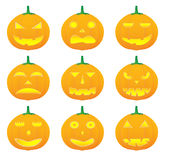Halloween pumpkin vector illustrations. Various halloween pumpkin illustrations royalty free illustration