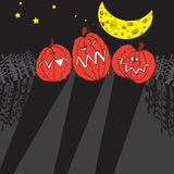 Halloween pumpkin. Vector Halloween pumpkins under the moon Stock Image