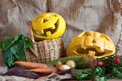 Halloween pumpkin and  vegetables Royalty Free Stock Photography
