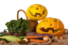 Halloween pumpkin and vegetables Royalty Free Stock Photos