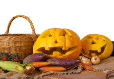 Halloween pumpkin and vegetables Stock Images