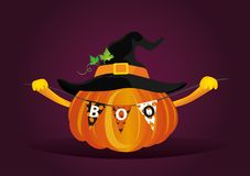 Halloween. Pumpkin in a velvet hat holds a garland with flags wi Stock Photos