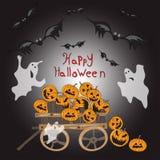 Halloween pumpkin in a wagon bats perfume vector illustration Royalty Free Stock Images