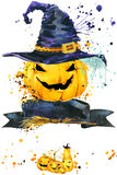 Halloween pumpkin. Watercolor illustration background for the holiday Halloween. Royalty Free Stock Images