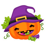 Halloween Pumpkin wearing a witch hat Royalty Free Stock Photography