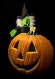 Halloween Pumpkin & Witch Stock Image