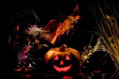 Halloween pumpkin with witch. Stock Photos