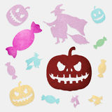 Halloween pumpkin, witch and candy Royalty Free Stock Images