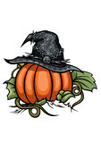 Halloween Pumpkin Witch Emblem. Illustration Halloween Symbols Witches Hat on the Pumpkin Stock Images