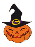 Halloween pumpkin with witch hat. Royalty Free Stock Photography