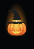 Halloween pumpkin in witch hat Royalty Free Stock Image
