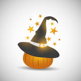 Halloween pumpkin with witch hat Royalty Free Illustration