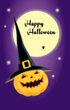 Halloween pumpkin in a witch hat. Design for greeting card. Vector illustration of a laughing pumpkin in a black witch hat. Purple background, bright full moon Stock Photography