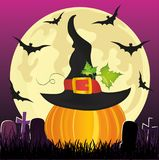 Halloween. Pumpkin in witch hat with the moon and bats. Vector. Royalty Free Stock Photos
