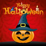 Halloween pumpkin in witch hat. Halloween pumpkin in witch hat on a red background Royalty Free Stock Images