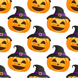 Halloween Pumpkin Witch Hat Seamless Stock Images