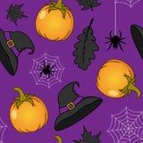 Halloween Pumpkin & Witch Hat Seamless Stock Photo