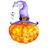 Halloween pumpkin in a witch hat with spider web. Watercolor Halloween. Hand drawn holiday illustrations  on white background: pumpkin in a witch hat with spider Royalty Free Stock Photos