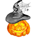 Halloween  pumpkin in a witch hat with spider web. Watercolor Halloween. Hand drawn holiday illustrations  on white background: pumpkin in a witch hat with Royalty Free Stock Image