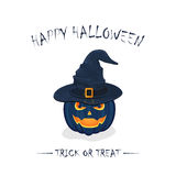 Halloween pumpkin in witch hat royalty free illustration