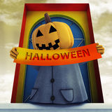 Halloween pumpkin witch holding  stripe Royalty Free Stock Image