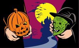 Halloween pumpkin witch mask Royalty Free Stock Photos