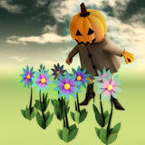 Halloween pumpkin witch in mystic flower garden Royalty Free Stock Image