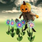 Halloween pumpkin witch in mystic flower garden Royalty Free Stock Image