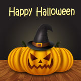 Halloween pumpkin with witches hat Royalty Free Stock Photography