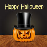 Halloween pumpkin with witches hat Stock Images