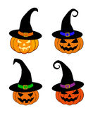 Halloween pumpkin in witches hat vector set illustration, Jack O Lantern isolated on white background. Scary orange picture with e Stock Photos