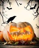 Halloween pumpkin on wood with dark background royalty free illustration