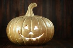 Halloween Pumpkin on Wood Grunge Rustic Background Royalty Free Stock Images