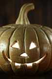Halloween Pumpkin on Wood Grunge Rustick Background Royalty Free Stock Photos