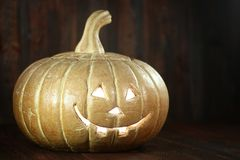 Halloween Pumpkin on Wood Grunge Rustick Background Stock Image