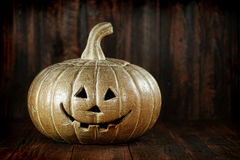 Halloween Pumpkin on Wood Grunge Rustick Background Royalty Free Stock Images