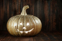 Halloween Pumpkin on Wood Grunge Rustick Background Stock Images