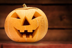 Halloween pumpkin. Wooden background Stock Images