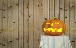 Halloween pumpkin with wooden background Royalty Free Stock Photography