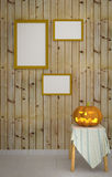 Halloween pumpkin with wooden background Royalty Free Stock Image
