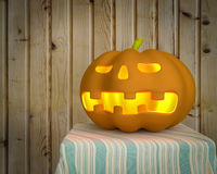 Halloween pumpkin with wooden background Royalty Free Stock Photo