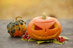 Halloween pumpkin on wooden planks Royalty Free Stock Images