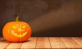 Halloween pumpkin on wooden table Stock Photography