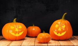 Halloween pumpkin on wooden table Stock Images