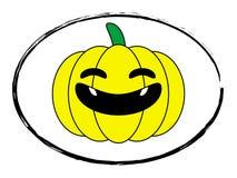 Halloween pumpkin yellow stamp. Halloween pumpkin yellow cartoon stamp logo Stock Photography