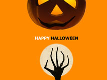 Halloween pumpkin and zombie hand rising Royalty Free Stock Photo