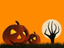 Halloween pumpkin and zombie hand rising Royalty Free Stock Image